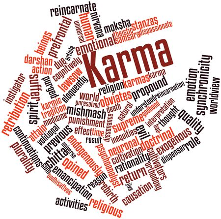 mishmash: Abstract word cloud for Karma with related tags and terms Stock Photo
