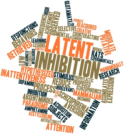 irrelevant: Abstract word cloud for Latent inhibition with related tags and terms Stock Photo