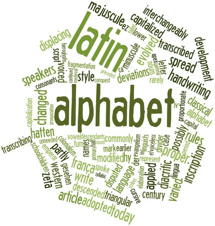 scribes: Abstract word cloud for Latin alphabet with related tags and terms