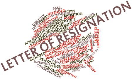 intent: Abstract word cloud for Letter of resignation with related tags and terms Stock Photo