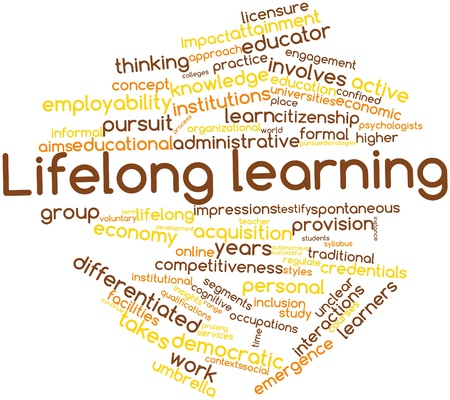instance: Abstract word cloud for Lifelong learning with related tags and terms Stock Photo