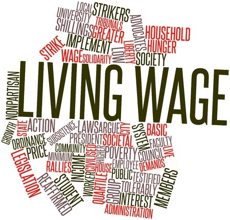 public house: Abstract word cloud for Living wage with related tags and terms