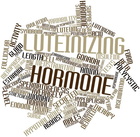 endometrium: Abstract word cloud for Luteinizing hormone with related tags and terms Stock Photo