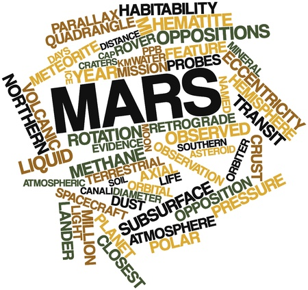 axial: Abstract word cloud for Mars with related tags and terms Stock Photo