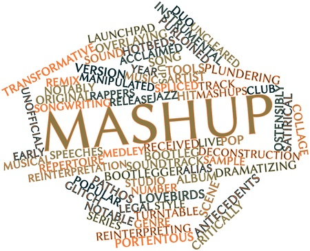 tracks live: Abstract word cloud for Mashup with related tags and terms