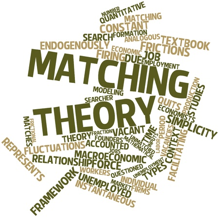 unmatched: Abstract word cloud for Matching theory with related tags and terms Stock Photo