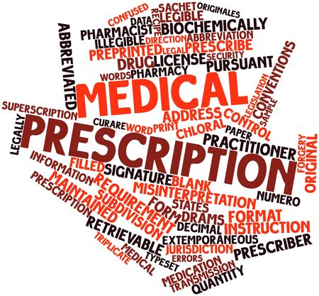 mandate: Abstract word cloud for Medical prescription with related tags and terms