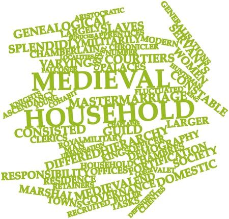 demografia: Nube palabra abstracta para el hogar medieval con etiquetas y términos relacionados