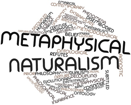 humanism: Nube palabra abstracta para el naturalismo metaf�sico con las etiquetas y t�rminos relacionados Foto de archivo