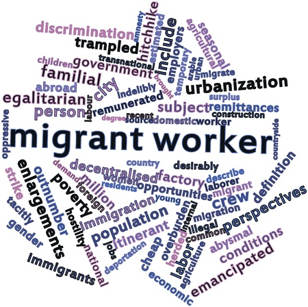 migrant: Abstract word cloud for Migrant worker with related tags and terms