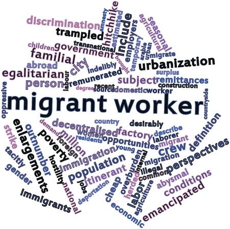 verlobt: Abstraktes Wort-Wolke für Wanderarbeitnehmer mit verwandten Tags und Begriffe