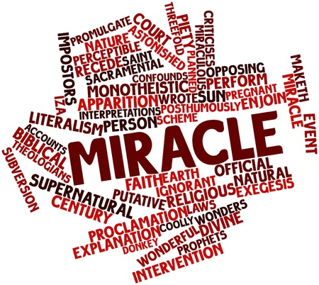 sacramental: Abstract word cloud for Miracle with related tags and terms Stock Photo