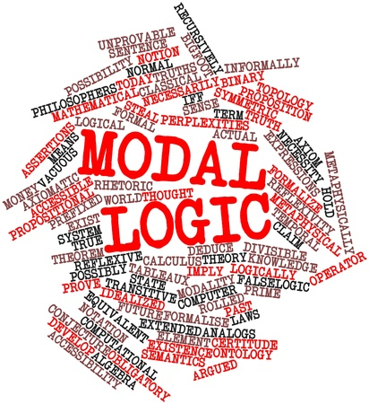 Abstract word cloud for Modal logic with related tags and terms Stock Photo