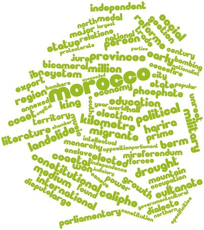 kilometre: Abstract word cloud for Morocco with related tags and terms Stock Photo