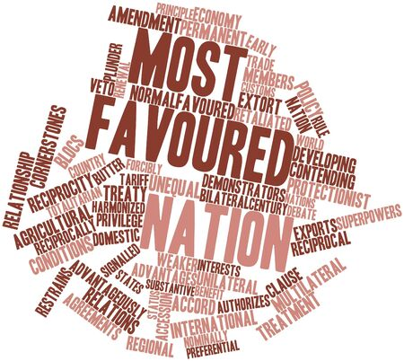 treaty: Abstract word cloud for Most favoured nation with related tags and terms