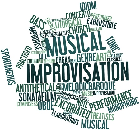 monophonic: Abstract word cloud for Musical improvisation with related tags and terms