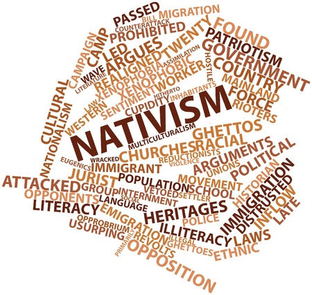sociologist: Abstract word cloud for Nativism with related tags and terms Stock Photo