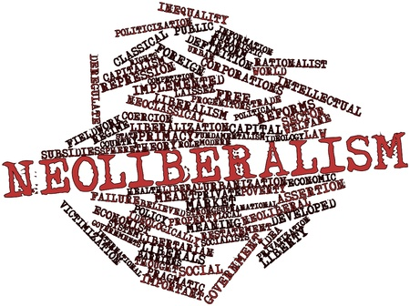 deficits: Abstract word cloud for Neoliberalism with related tags and terms Stock Photo