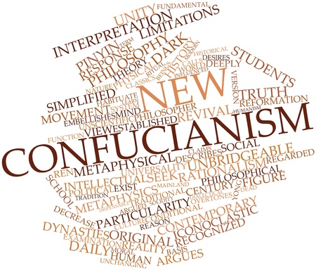 rationalism: Abstract word cloud for New Confucianism with related tags and terms Stock Photo