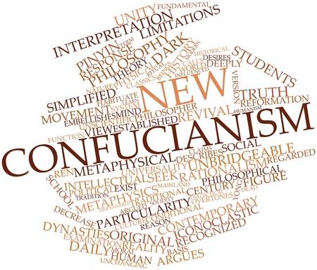 humanismo: Nube palabra abstracta para el confucianismo Nuevo con las etiquetas y términos relacionados