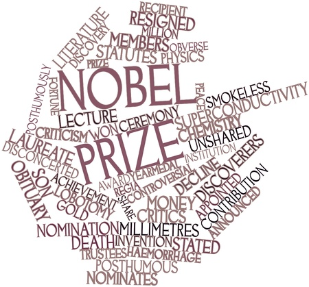 stated: Abstract word cloud for Nobel Prize with related tags and terms
