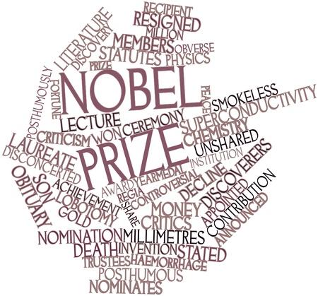 Abstraktes Wort-Wolke für den Nobelpreis mit verwandten Tags und Begriffe Lizenzfreie Bilder