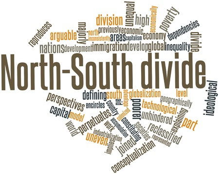 poorer: Abstract word cloud for North-South divide with related tags and terms
