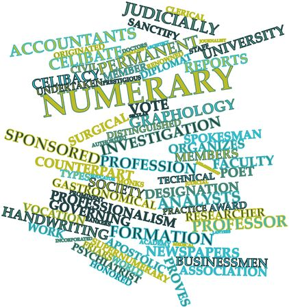 Abstract word cloud for Numerary with related tags and terms