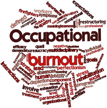 exerted: Abstract word cloud for Occupational burnout with related tags and terms Stock Photo