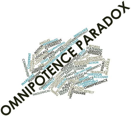 Paradoks: Abstract cloud słowo paradoksu omnipotencji z powiązanymi tagów oraz warunków