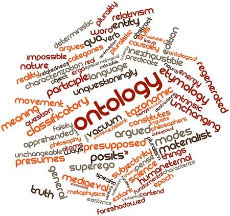 Nube palabra abstracta para Ontología con etiquetas y términos relacionados Foto de archivo - 17148982