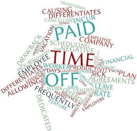 Abstract woordwolk voor Betaald verlof met gerelateerde tags en voorwaarden