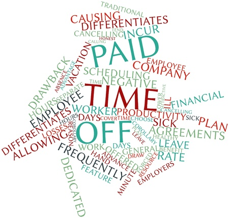 the day off: Abstract word cloud for Paid time off with related tags and terms