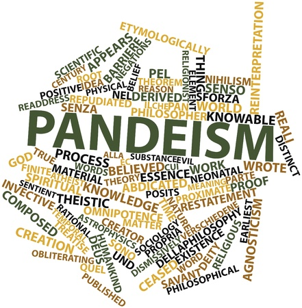 finite: Abstract word cloud for Pandeism with related tags and terms Stock Photo