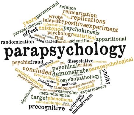 psiquico: Nube palabra abstracta para Parapsicología con etiquetas y términos relacionados Foto de archivo