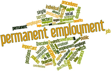 severance: Abstract word cloud for Permanent employment with related tags and terms