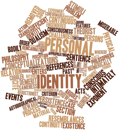 criterion: Abstract word cloud for Personal identity with related tags and terms