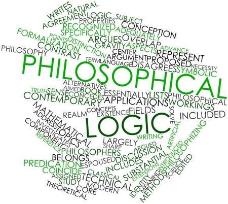 coincidir: Nube palabra abstracta para la lógica filosófica con las etiquetas y términos relacionados Foto de archivo