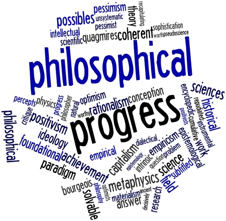 critique: Abstract word cloud for Philosophical progress with related tags and terms Stock Photo