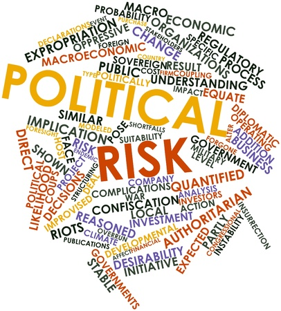 correspond: Abstract word cloud for Political risk with related tags and terms Stock Photo
