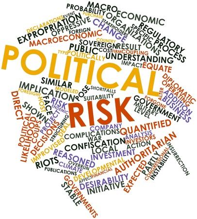 alkalmasság: Absztrakt szó felhő a politikai kockázat a kapcsolódó címkék és kifejezések Stock fotó