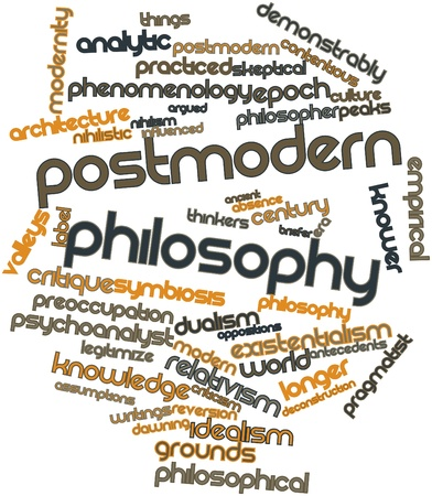 synthesize: Abstract word cloud for Postmodern philosophy with related tags and terms Stock Photo