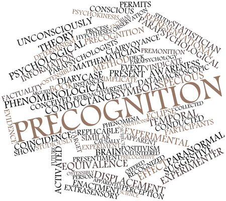 premonition: Abstract word cloud for Precognition with related tags and terms Stock Photo