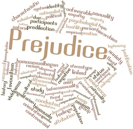 Abstract word cloud for Prejudice with related tags and terms Stock Photo - 17148765