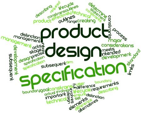 Abstraktes Wort-Wolke für Produkt-Design-Spezifikation mit verwandte Tags und Begriffe