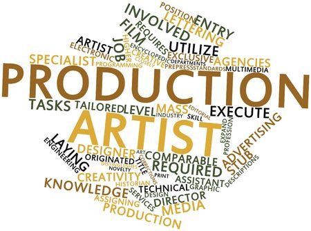 assigning: Abstract word cloud for Production artist with related tags and terms