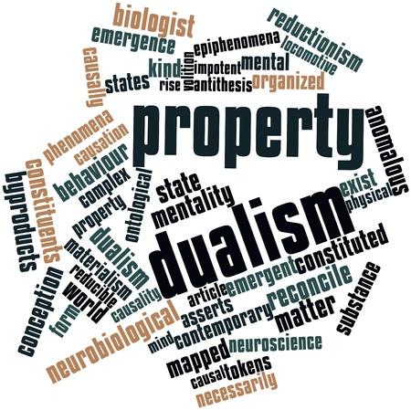 dualism: Nube palabra abstracta para el dualismo de propiedades con etiquetas y t�rminos relacionados Foto de archivo