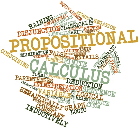 deduce: Abstract word cloud for Propositional calculus with related tags and terms Stock Photo