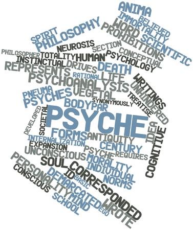 psique: Nube palabra abstracta para Psique con las etiquetas y t�rminos relacionados Foto de archivo