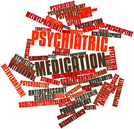 addictive: Abstract word cloud for Psychiatric medication with related tags and terms
